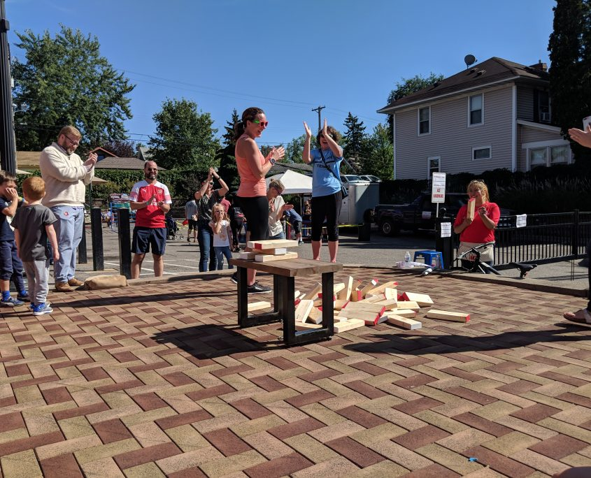 Life sized Jenga at Open Streets