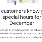 spLet customers know your special hours for December